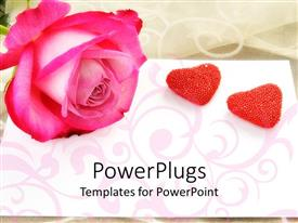 PowerPlugs: PowerPoint template with large pink rose with two heart shaped stones beside