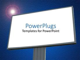 PowerPoint template displaying a large plain blank billboard with and a bright light
