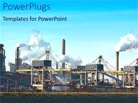 PowerPlugs: PowerPoint template with large power plant emitting tick white smoke on a grass field