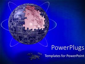 PowerPlugs: PowerPoint template with a large puzzle globe wit three swirling orbits