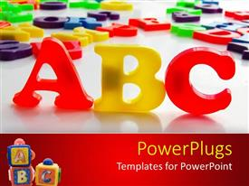 PowerPlugs: PowerPoint template with large red ad yellow colored words that spell out 'ABC'