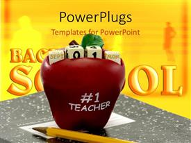 PowerPoint template displaying a large red apple with some cubes and a text which spells out the word