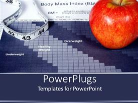 PowerPoint template displaying large red apple and a measuring tape on a body max index paper