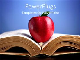 PowerPlugs: PowerPoint template with large red apple placed in open book over blue background