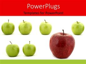 PowerPlugs: PowerPoint template with large red apple stands out in row of green apples