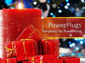 PowerPlugs: PowerPoint template with a large red candle with some small red gift boxes
