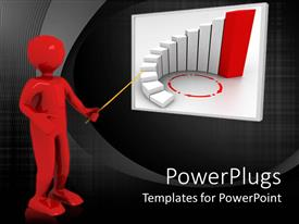 PowerPlugs: PowerPoint template with large red colored 3D character pointing at a white board