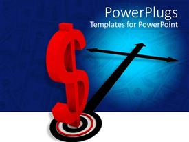 PowerPoint template displaying a large red dollar sign on a cross target