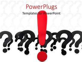 PowerPoint template displaying large red exclamation mark between black question mark signs