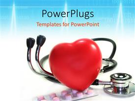 PowerPlugs: PowerPoint template with a large red reflective heart on a stethoscope and pills