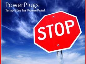 PowerPlugs: PowerPoint template with large red stop sign with clear blue sky background