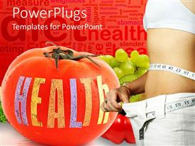 PowerPoint template displaying large red tomatoes with a Health text and a slim lady