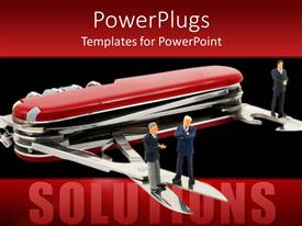 PowerPlugs: PowerPoint template with large red Utility  knife with three people standing on its blades