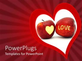 PowerPlugs: PowerPoint template with a large red and white heart symbol with two apples in the middle of it