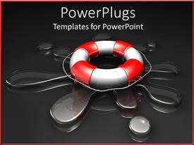 PowerPoint template displaying large red and white life preserver on splash of clear water and dark background