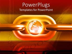 PowerPlugs: PowerPoint template with large red and yellow chain with a gold shining globe