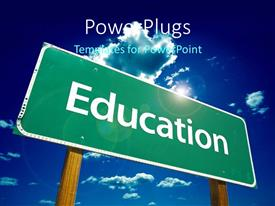 PowerPlugs: PowerPoint template with a large road sign on a clear blue sky