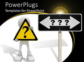 PowerPoint template displaying large road signpost with three question marks and a human character