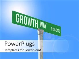 PowerPlugs: PowerPoint template with a large road sing post with a text that spell out the words 'Growth way'