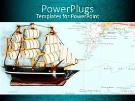 PowerPlugs: PowerPoint template with large sailing ship with multiple sails with map in the background