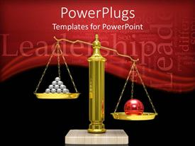 PowerPoint template displaying a large scale with a large red ball and smaller silver balls