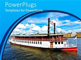 PowerPlugs: PowerPoint template with large ship on a sea with a blue background