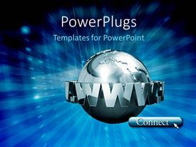 PowerPlugs: PowerPoint template with a large silver colored 3D globe with some text round it