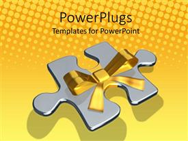 PowerPlugs: PowerPoint template with a large silver colored puzzle piece with a gold wrap