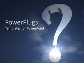PowerPlugs: PowerPoint template with large silver question mark in front of blue sky