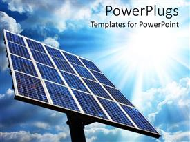 PowerPlugs: PowerPoint template with large solar panel with blue sky and sun, green energy