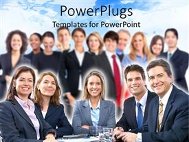 PowerPlugs: PowerPoint template with large team of business people smiling to the camera with five people sitting at the table and a team standing in the background