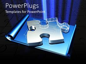 PowerPlugs: PowerPoint template with large three dimensional glass jigsaw puzzle piece on blueprints