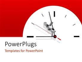 PowerPoint template displaying a large white clock on a red colored background