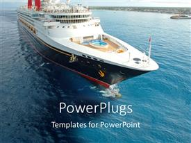 PowerPlugs: PowerPoint template with large white colored boat on a clear blue sea