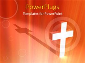 PowerPlugs: PowerPoint template with large white colored cross on an orange colored background