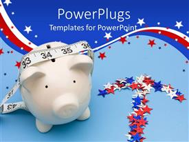 PowerPlugs: PowerPoint template with a large white piggy bank with multi colored starts around it