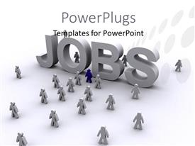 PowerPlugs: PowerPoint template with a large white text that spells out the word 'jobs'