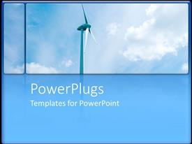 PowerPlugs: PowerPoint template with large wind turbine against bright blue sky