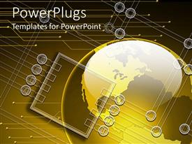 PowerPoint template displaying large yellow colored globe with lots of circuit designs