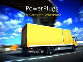 PowerPoint template displaying a large yellow colored truck moving fast on a plain road