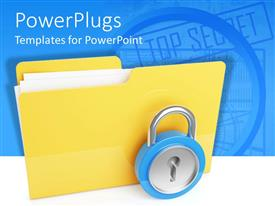 PowerPoint template displaying large yellow folder with a metal pad lock in front