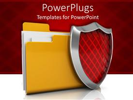 PowerPoint template displaying large yellow folder with a red security shield beside it