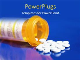 PowerPlugs: PowerPoint template with a large yellow prescription bottle with pills in it