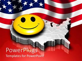 PowerPoint template displaying large yellow smiley face with an American background behind