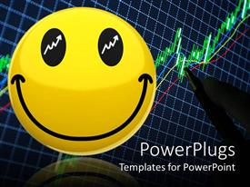 PowerPlugs: PowerPoint template with large yellow smiley face with white upwards pointing arrows in eyes
