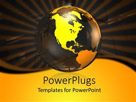 PowerPlugs: PowerPoint template with a large yellow transparent globe on a black background
