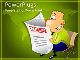PowerPlugs: PowerPoint template with laughing businessman sitting on bench reading newspaper on green background