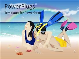 PowerPlugs: PowerPoint template with laughing couple wearing snorkeling gear on beach with rainbow background