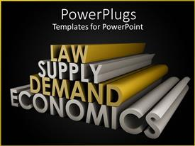 PowerPoint template displaying law Supply Demand Economics in gold and silver against black background