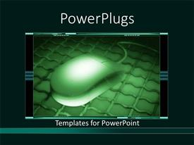 PowerPlugs: PowerPoint template with lCD screen showing dark green mouse on iron plate